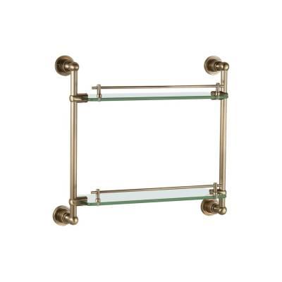 Полка стекляная двойная 43 см настенная Aquanet латунь 189273