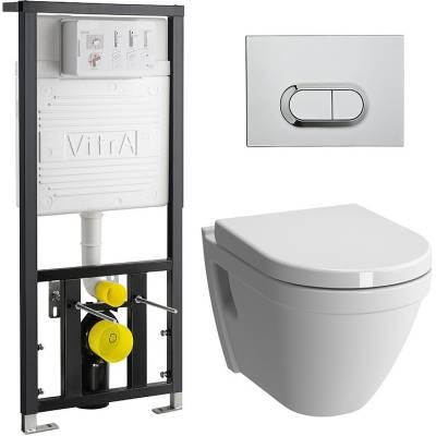 Унитаз подвесной безободковый с инсталляцией и клавишей Vitra S50 9003B003-7201
