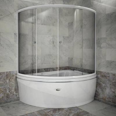 Шторка на ванну Альбена (белый профиль)