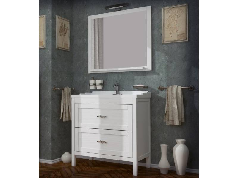 Комплект мебели ASB-Woodline Римини 80 белый/патина серебро